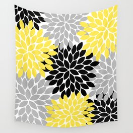 Yellow Black Gray Flower Burst Floral Pattern Wall Tapestry