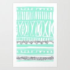 mint tribal & glitter Art Print