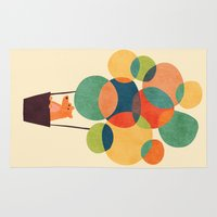 hot Area & Throw Rugs featuring Whimsical Hot Air Balloon by Picomodi