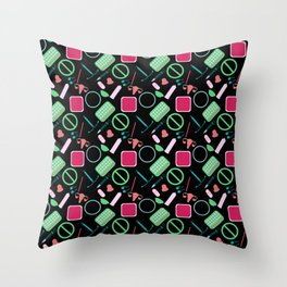 Contraception Pattern (Black) Throw Pillow