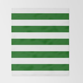 Emerald green - solid color - white stripes pattern Throw Blanket