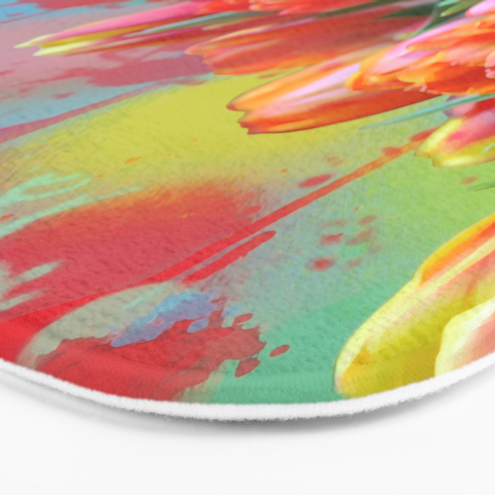 Painterly spring tulips on an abstract background Bath Mat