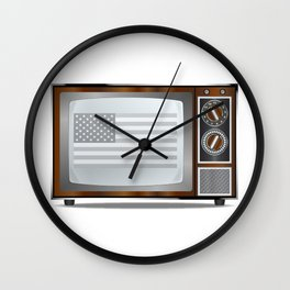 Patriotic Black And White Television Wall Clock