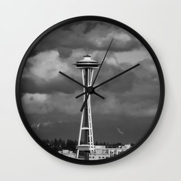 Seattle Skyline - B & W Wall Clock
