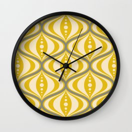 Retro Mid-Century Saucer Pattern in Yellow, Gray, Cream Wall Clock