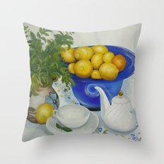 Lemon Tea Throw Pillow