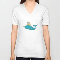 submarine V-neck T-shirts featuring SUBMARINE by yamini