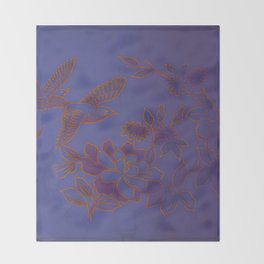 Vintage Birds And Flowers - Blue Throw Blanket
