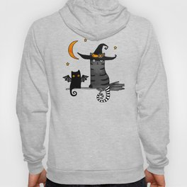 2 cats – Bat and Wizard on a broomstick for Halloween Hoody