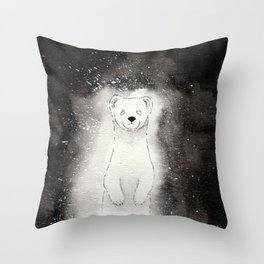 Ghostly Stoat Throw Pillow