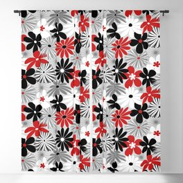 Funky Flowers in Red, Gray, Black and White Blackout Curtain