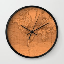 World Surface Routes in Brown Wall Clock