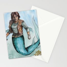 Scifi Mermaid on Teal Stationery Cards