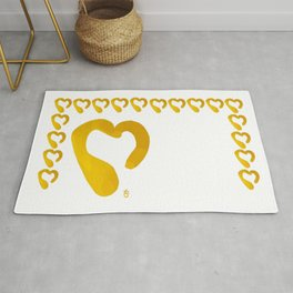 Gold Hearts on White - Love is Golden Rug