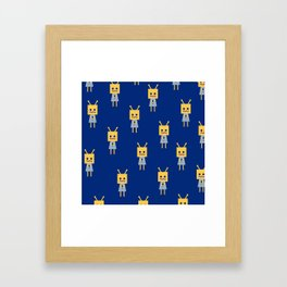 Shy Little Robot (blue) Framed Art Print