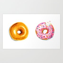 Two donuts in watercolor Art Print