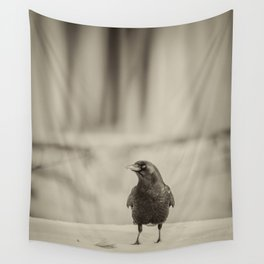 Betsy's Crow In The Snow Wall Tapestry