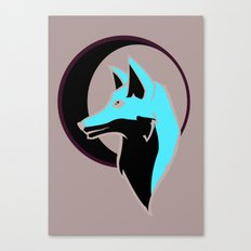 Night Fox with Moon Canvas Print