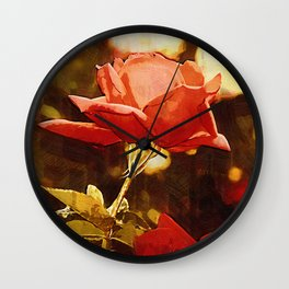 Single Rose Bloom In Gothic Wall Clock