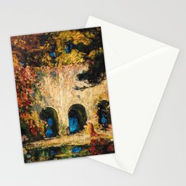 Romantic Parisian Floral Enchanted Garden Scene, Solitary Thoughts by Thomas Edwin Mostyn Stationery Cards