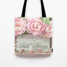 Shabby Chic Cottage Pink Peonies Inspirational Art Print Home Decor Tote Bag