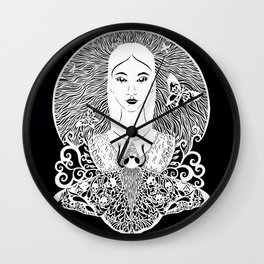 Girl with the moth Wall Clock