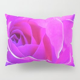 Pretty Round Pink and Purple Rose on Blue Painting Pillow Sham