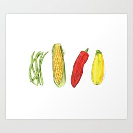 Four Veggies Art Print