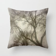Trees, rain and fog Throw Pillow