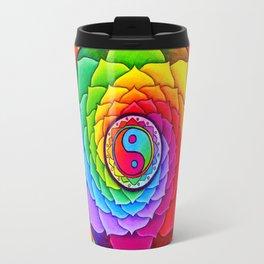 Healing Lotus Rainbow Yin Yang Mandala Travel Mug