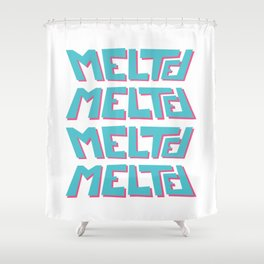 Melted, the solid typography. Shower Curtain