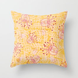 Reaching Out Tentacle Jellyfish - Yellow Throw Pillow