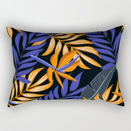 Summer seamless tropical pattern with bright leaves and plants on a dark background. Beautiful exotic plants. Tropic leaves in bright colors. Colorful stylish floral. Rectangular Pillow