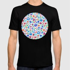 Little Owls and Flowers on White Mens Fitted Tee Black LARGE