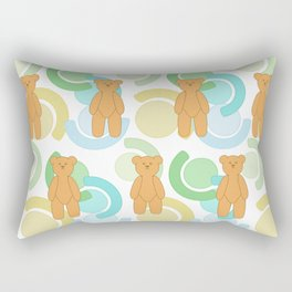 Tedy Bear Bonanza - Green Rectangular Pillow