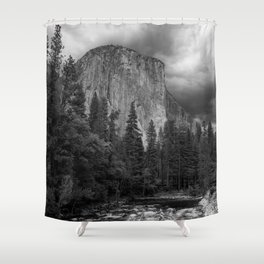 Yosemite National Park, El Capitan, Black and White Photography, Outdoors, Landscape, National Parks Shower Curtain