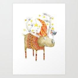 Christmas Reindeer watercolour art Art Print