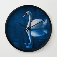 swan queen Wall Clocks featuring Swan by Spooky Dooky