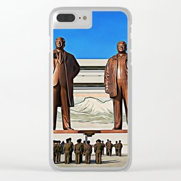 The Gods Of The North | Kim Il-sung And Kim Jong-il Oil Painting Clear iPhone Case
