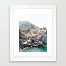 Pastel Houses in Cinque Terre, Manarola Town | Italy Fine Art Travel Print | Amalfi Coast, Italy Framed Art Print