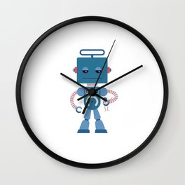 Giant blue robot with a toy human Wall Clock
