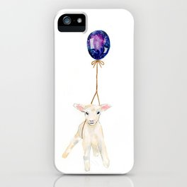 flying sheep with galaxy balloon watercolor painting  iPhone Case