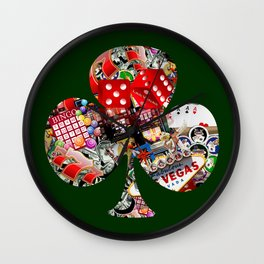 Club Playing Card Shape - Las Vegas Icons Wall Clock