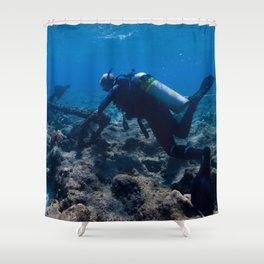 Scuba Diving Excavation Shower Curtain