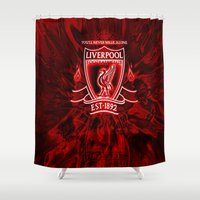 liverpool Shower Curtains featuring LIVERPOOL LOVER by Acus
