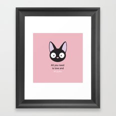 All you need is love and meow! Framed Art Print