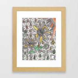 Zentangle Inspired Sunflowers Framed Art Print