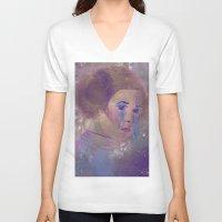 princess leia V-neck T-shirts featuring Princess Leia  by Mara Valladares