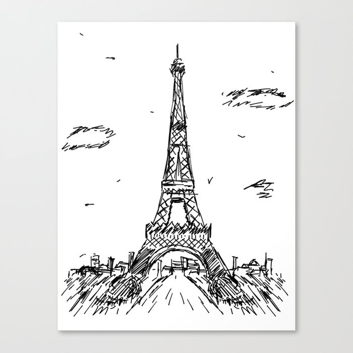 Paris Eiffel Tower Drawing Canvas Print By Pda86 Society6