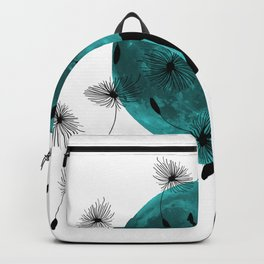 Turquoise Moon black Cat dandelions Backpack